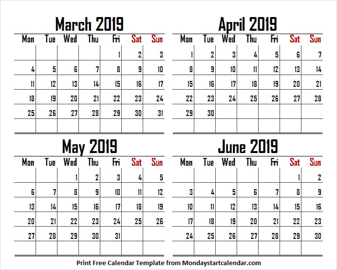March April May June 2019 US Calendar