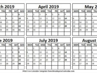 Printable Calendar March to August 2019