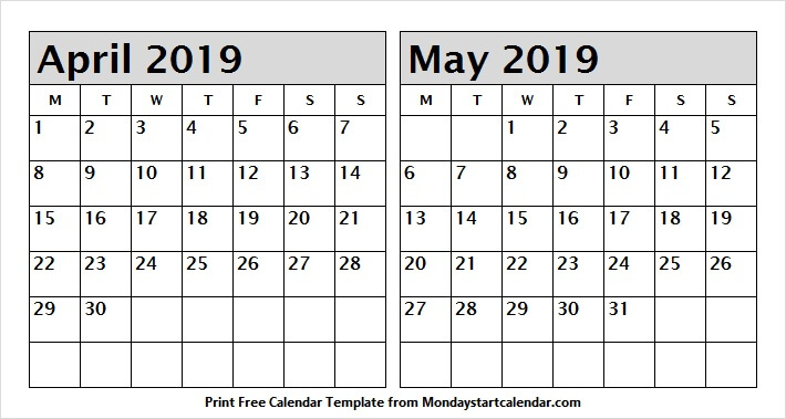 April And May 2019 Calendar Printable Two Months Template