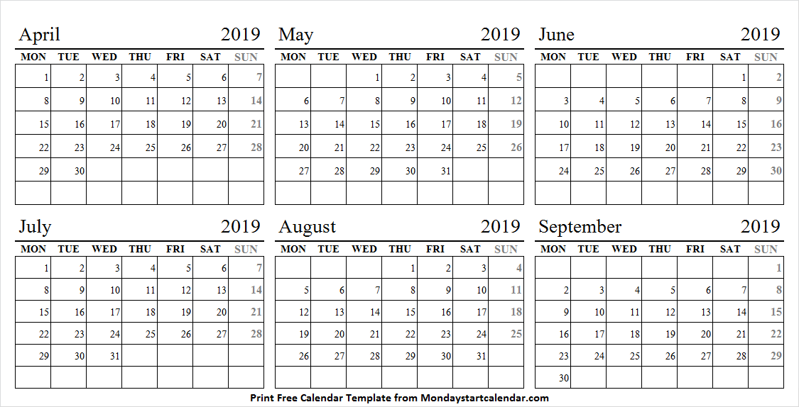 Apr - Sep 2019 Calendar Editable