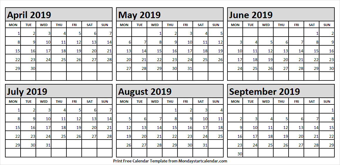 Apr Sep 2019 Printable Calendar