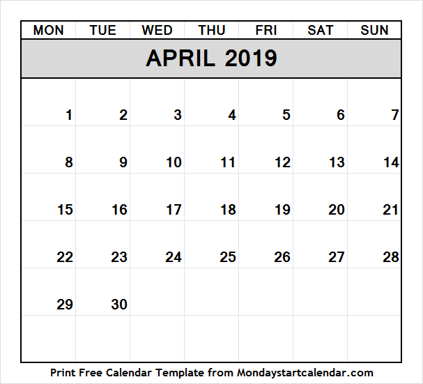 April 2019 Calendar Events