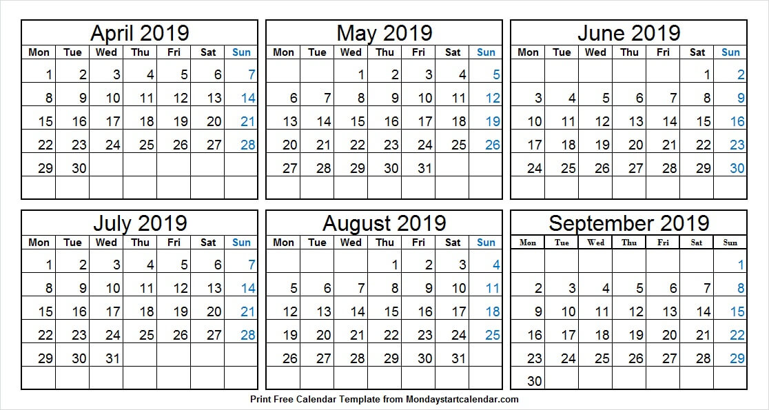 April September 2019 Half Year Calendar
