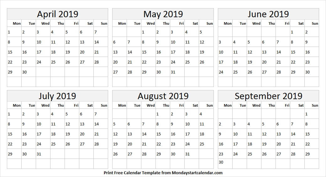 April to September 2019 Editable Calendar