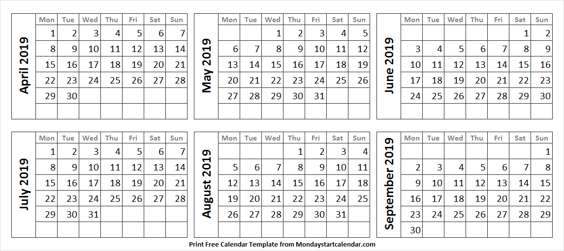 April to September 2019 Template to Print
