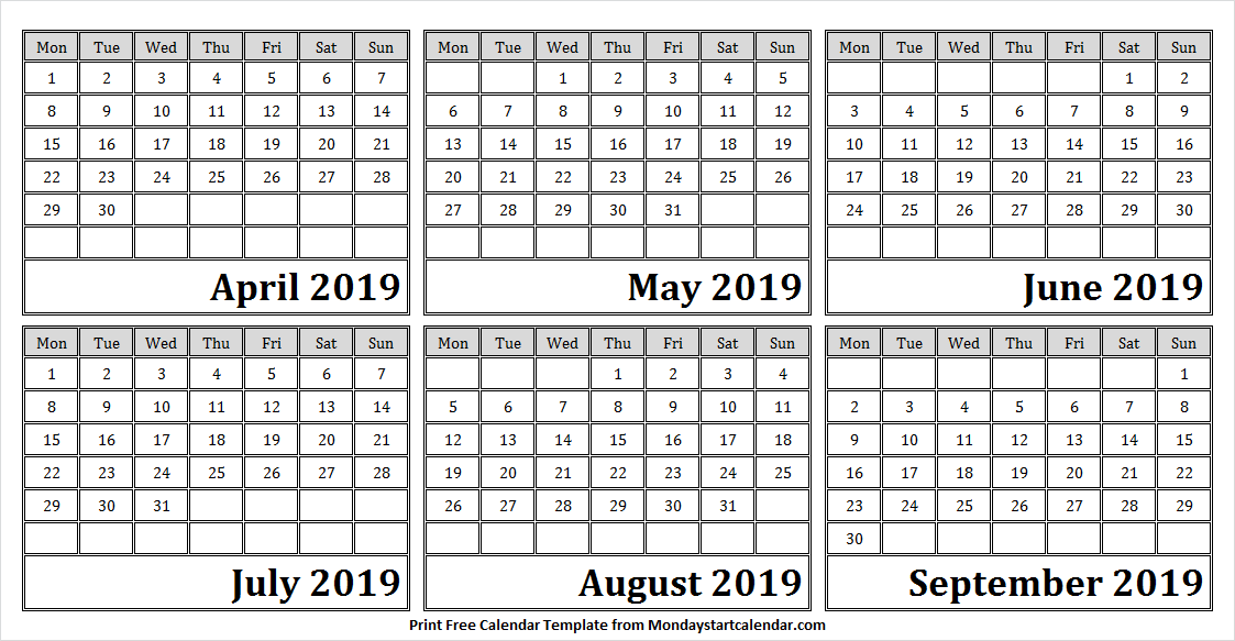 Calendar 2019 April to September