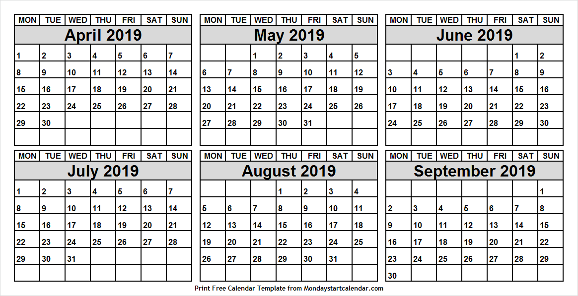 Monthly April September 201Monthly April September 2019 Calendar9 Calendar