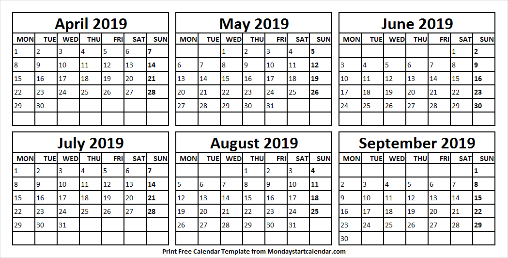 Printable Calendar April September 2019