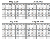 2019 May June July and August Calendar UK