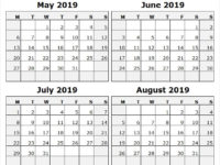 2019 May June July and August Calendar USA