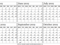 6 Month Calendar May to October 2019