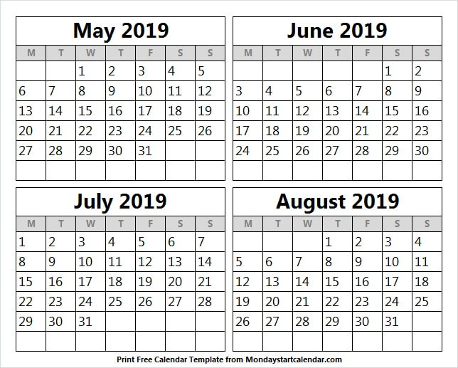 photograph relating to 4 Month Calendar Printable named Could possibly JUNE JULY 2019 CALENDAR TEMPLATE - 3 Thirty day period Calendar 2019