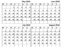 Free Blank Calendar 2019 May to August