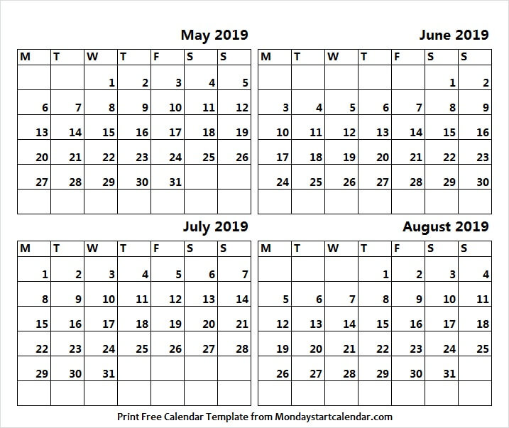 May June July and August 2019 Calendar | HD Pics, Wallpapers