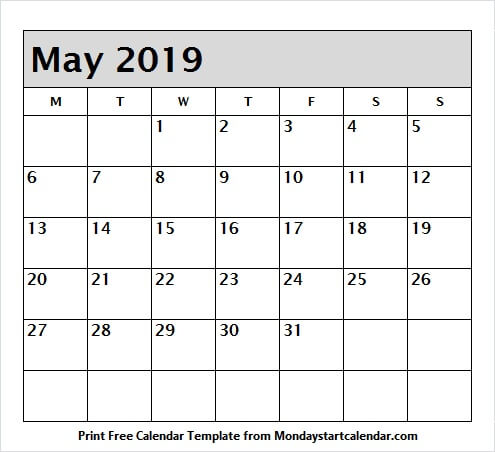 May 2019 Calendar Clipart