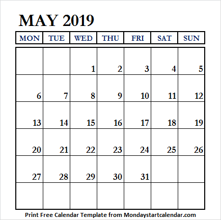 May 2019 Calendar Fillable