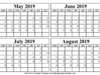 May to August 2019 Calendar