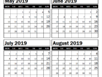 May to August 2019 Calendar Print