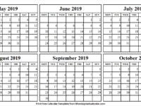 Monthly May October 2019 Calendar