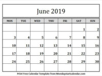 Black & White Calendar 2019 June