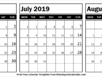 Black and White Calendar 2019 June July August