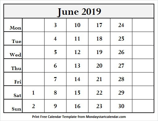 Calendar June 2019 Editable Template