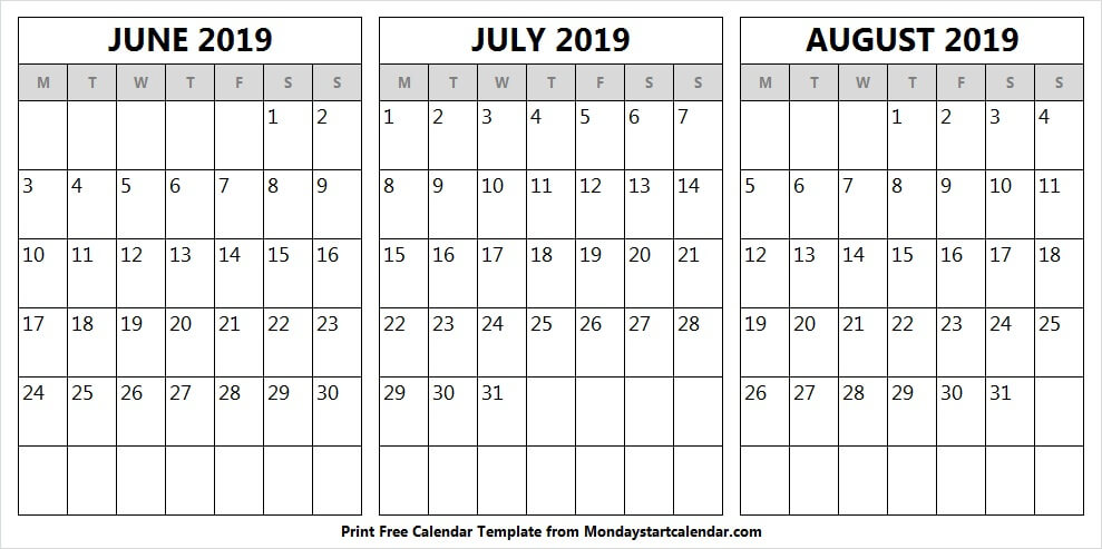 Monthly Calendar June July August 2019 | Black and White