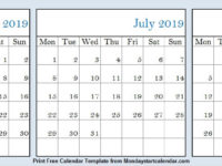 June to August 2019 Calendar with Lines