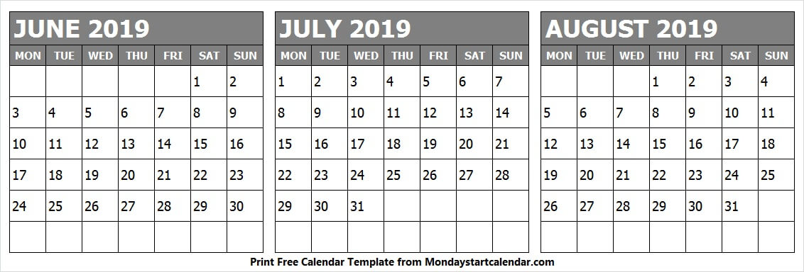 Monthly Calendar June July August 2019