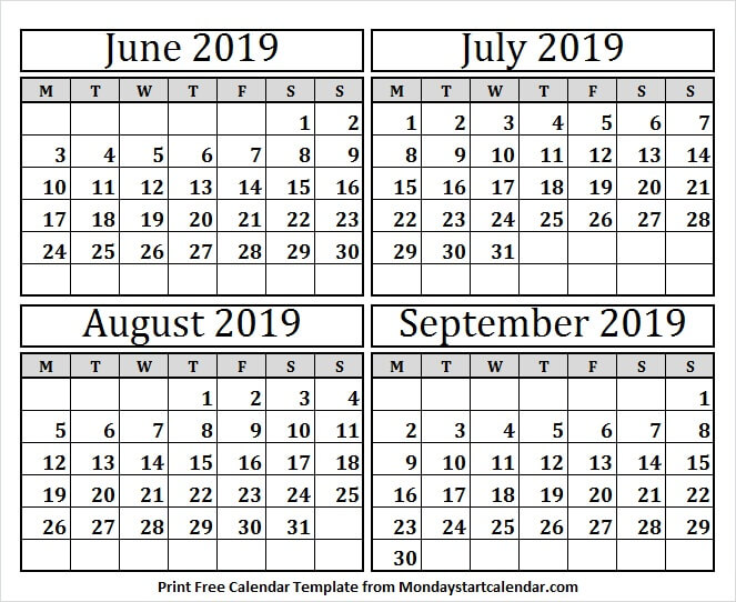 CALENDAR 2019 JUNE JULY AUGUST PRINTABLE - Black and White