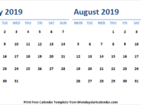 Download July August Calendar 2019