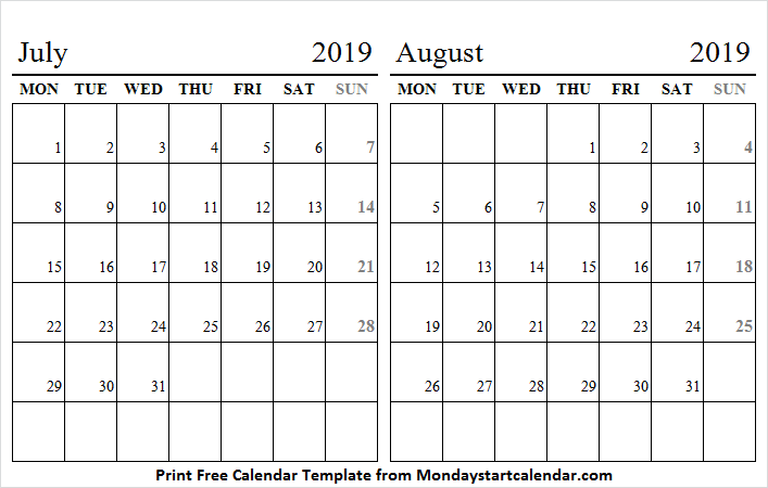 July and August 2019 Calendar