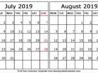 July to August 2019 Calendar