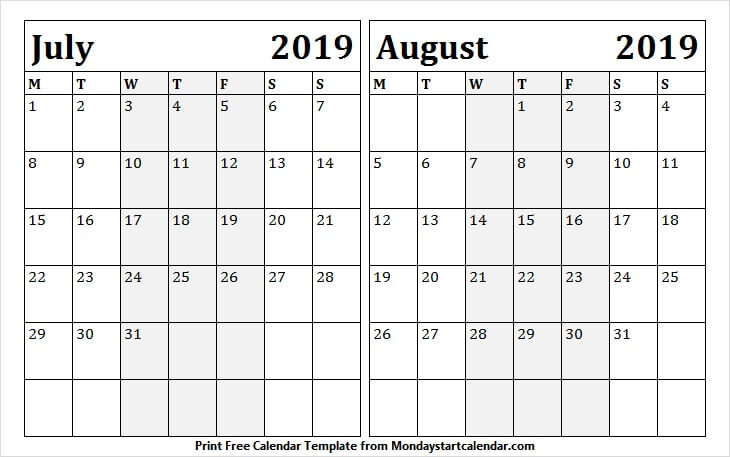 July to August 2019 Calendar Template