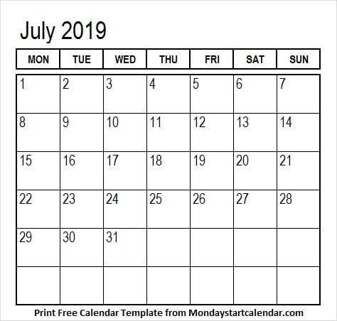 Month of July Calendar 2019