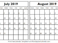 Monthly Calendar July August 2019