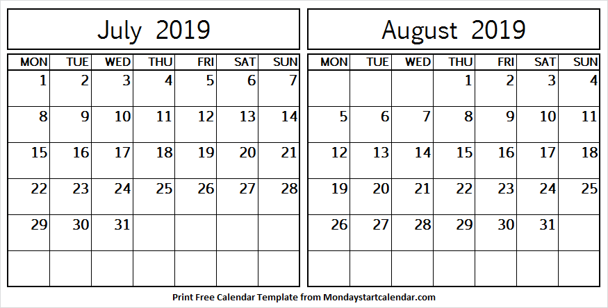 Printable Calendar July and August 2019