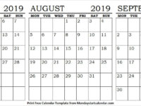 Calendar 2019 July August and September