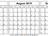July August and September 2019 Calendar Canada