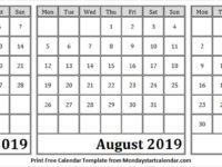 July August and September 2019 Calendar to Print