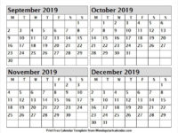 Pintable September October November December 2019 Calendar