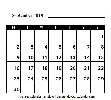 September 2019 Calendar Starting Sunday