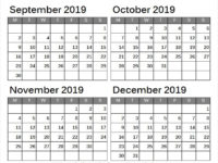 September October November December Printable Calendar 2019