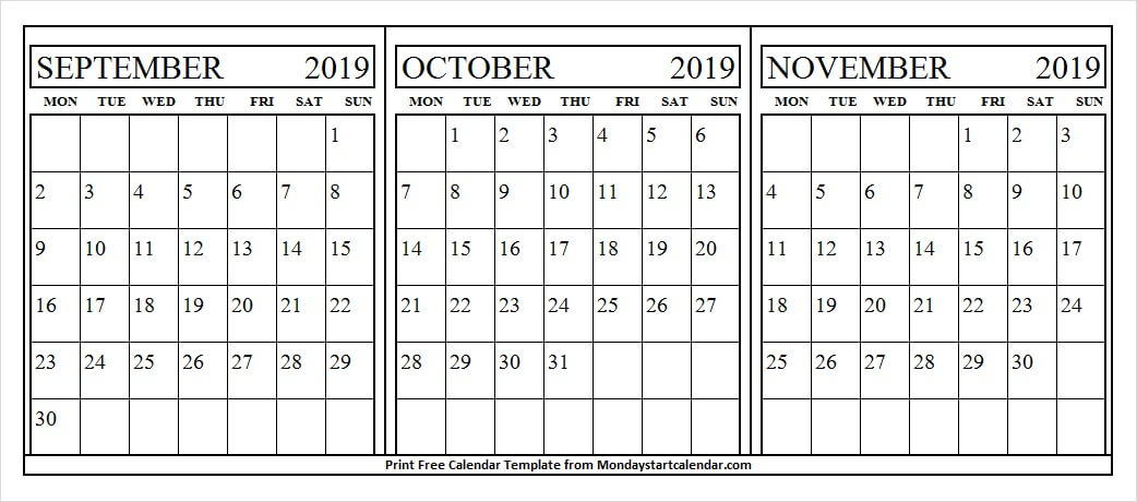 September October November Printable Calendar 2019