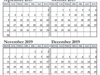 September October November and December 2019 Calendar