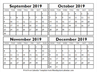 September to December 2019 Calendar Printable