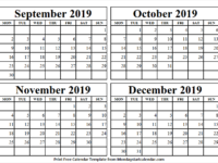September to December 2019 Month Calendar