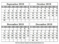 White Calendar 2019 September October November and December