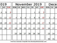 2019 Oct Nov Dec Calendar Free