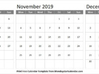 Black and White Calendar 2019 October November December